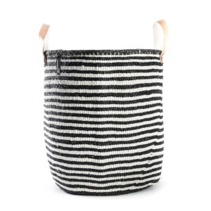 Mifuko Basket – White-black striped Large
