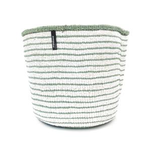 Mifuko Basket – Medium – white with light greens stripes