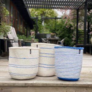 Mifuko Basket -White and ocean blue stripes,large