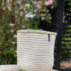 Mifuko Basket -White with light green stripes, large